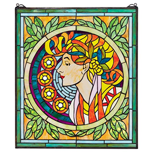 Tiffany Glasmalerei-panels (Buntglas-Panel - La Rousse durch Mucha Buntglas-Fenster Behang - Fensterbehandlungen)