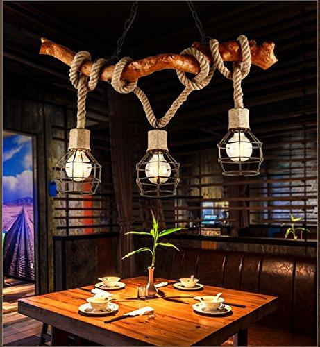 Vintage Holz Kronleuchter Industrie 3 Lichter Seil Kronleuchter Metall Draht Käfig Lampe Loft Rustikale Deckenleuchte Innen Retro Beleuchtung (nicht Glühbirnen) - Metall-kronleuchter
