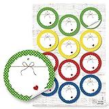 48 Stück runde 6 cm Aufkleber Blanko Etiketten blau gelb weiß grün gepunktet Marmeladengläser...