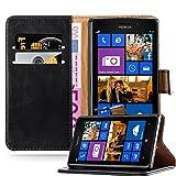 Cadorabo Hülle für Nokia Lumia 925 - Hülle in Graphit SCHWARZ – Handyhülle im Luxury Design mit Kartenfach und Standfunktion - Case Cover Schutzhülle Etui Tasche Book