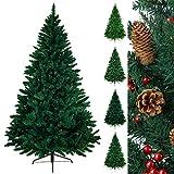 Christbaum künstlicher Weihnachtsbaum Tannenbaum TREEDITION in verschiedenen Größen und Farben inkl. Standfuß künstliche Tanne mit Klappsystem, Farbe:Dunkelgrün, Höhe:210 cm (1.160 Spitzen)