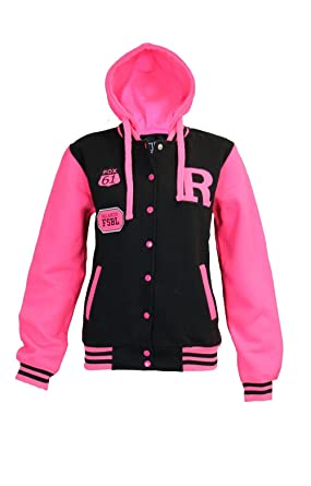 LADIES BASEBALL VARSITY JACKET WITH NEON PINK FLUORESCENT SLEEVES ...