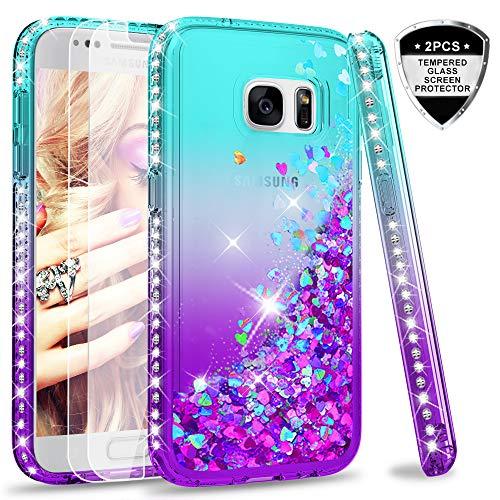 LeYi Hülle Galaxy S7 Glitzer Handyhülle mit Panzerglas Schutzfolie(2 Stück),Cover Diamond Rhinestone Bumper Schutzhülle für Case Samsung Galaxy S7 Handy Hüllen ZX Gradient Turquoise Purple -