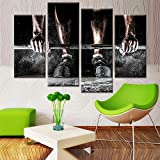 FYBSNDY Wohnzimmer leinwand malerei Poster 4 Panel Junge hantel Sport Wand künstler wohnsitz...