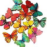 daliuing 50x Holz-Schmetterling Coat Shirt Schnalle Tasten für DIY Basteln Stricken Nähen Reinigungstuch Zubehör Multicolor 28mm