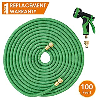 ANSIO Expandable Garden Hose Pipe 100 Ft with Brass Connectors, Polyester Fabric Outer Layer & 9 Function Spray, Flexible Anti-Kink for Home, Garden - 1 Year Replacement Warranty *Promotional Price*