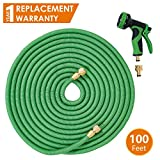 Hose Pipe Garden Hose Pipe 100 Ft / 30 Metre, Flexible Hose Pipe with Brass Fittings, Triple Latex Inner Core, Polyester Fabric Outer Layer and 9 Function Spray Gun. Anti-Kink Hose for Home, Garden, Car and Bike Wash