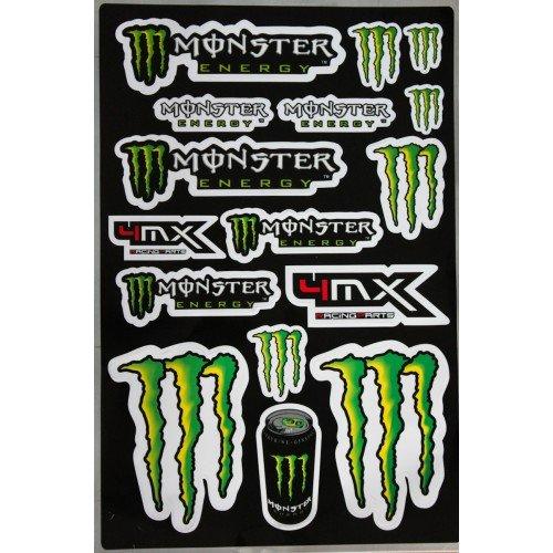 Monster Energy 4MX RACING - Foglio di 16 adesivi decorativi grandi, 45 x 30 cm, include 2 grandi loghi