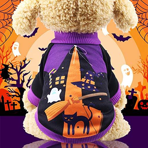 PowerBH haustierbekleidung Der Halloween Kürbis Katze Hund Pullover, Halloween Welpen Katze Kostüm Hund Strickwaren, Hund Bekleidung, Haustier Sweatshirt lila S (Für Halloween-kostüme Hunde Uk Kürbis)