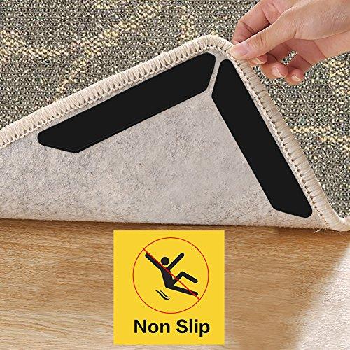 Antirutschmatte für Teppich, BSiegel 8pcs Schwarz Teppich Unterlagen Rutschfest Rutschschutz Teppichunterleger Anti Rutsch Streifen, waschbar & wiederverwendbar