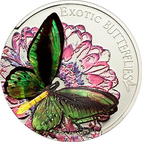 Exotisches Schmetterlinge im 3D - Ornithoptera Priamus Münze Silber $5 - Tokelaus 2012