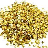 qingsb Gold Star Confeti Mesa metálica de papel de aluminio lentejuelas para fiesta boda decoración herramienta - Dorado