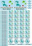 INDIGOS UG Namensaufkleber/Sticker - A4-Bogen - 034 - Dinosaurier - 69 Aufkleber für Schule, Kindergarten, Hefte, Bücher - Stifte, Federmappe, Lineale - auch für Erwachsene - individueller Aufdruck