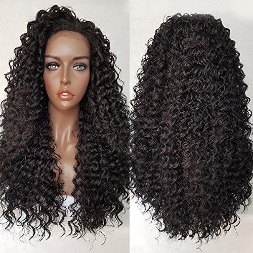 qd-tizer Kinky Curly Synthetische Lace Front Perücken für schwarz Frauen Lace Front Gelockt Perücke Hochzeit Perücke 71,1cm