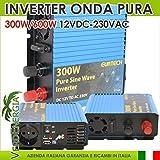 Inverter 300W 600W 12VDC a 230VAC Onda Sinusoidale Pura per Barca Camper Baita