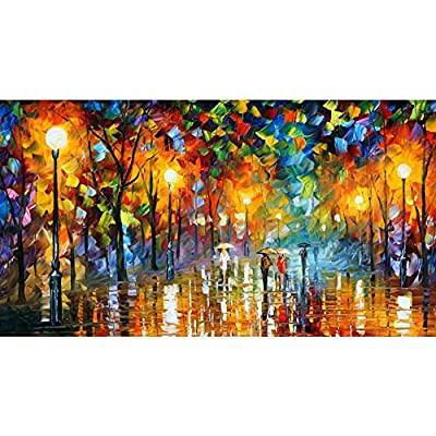 Van Eyck Walk under the Street Lamp Colorful Landscape Palette Knife Oil Painting Prints on Canvas Abstract Wall Art Picture for Home Decorations