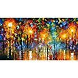 Van Eyck Walking under the Street Lamp Colorful Palette Knife Oil Painting of Tree Wall Canvas linen Art Prints Pictures Wall Art for Bedroom Living Room HD-158