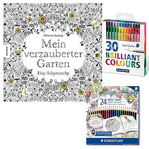 """Malbuch für Erwachsene """"Mein verzauberter Garten"""" inkl. Set"""