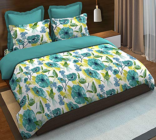 Boutique Living India Sapphire Green 200TC Printed Cotton Queen Size (228 cm X 274 cm) Double Bedsheet with 2 Pillow Covers - Buy Online Bedsheet