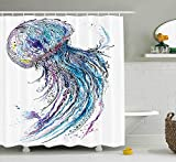 Jellyfish Shower Curtain Set by Minsoku, Aqua Colors Artsy Ocean Animal Print Sketch Style Creative Sea Maritime Theme, Fabric Bathroom Decor with Hooks, 70 Inches, Blue Purple White