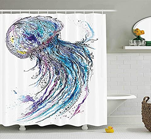 Jellyfish Shower Curtain Set by Minsoku, Aqua Colors Artsy Ocean Animal Print Sketch Style Creative Sea Maritime Theme, Fabric Bathroom Decor with Hooks, 70 Inches, Blue Purple