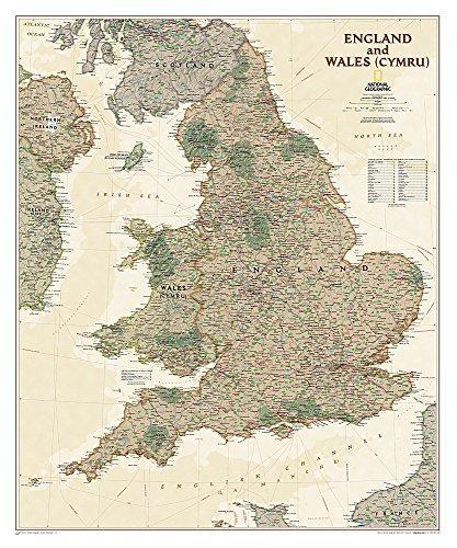 England And Wales Executive, Laminated: Wall Maps Countries & Regions (National Geographic Reference Map)