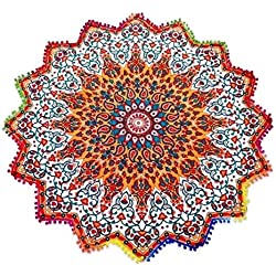 Pom Pom Fleco Roundie Yoga Mat, estrella toalla de playa, Bohemia Tapices, India Mandala Throw, pared que cuelga del Hippie, Manta de picnic Boho, gitana Mantel