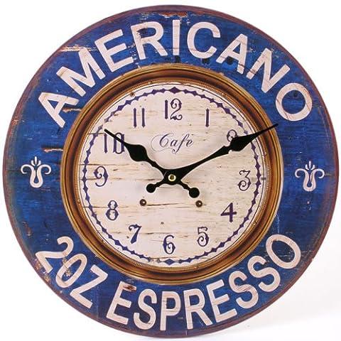 Watching Clocks Horloge murale en bois Style moderne Motif Americano Bleu