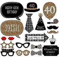 Kit de accesorios de decoración divertidos para bodas de 30 cumpleaños, 40 cumpleaños, 20 unidades, estilo de hombre y mujer, ideal para fiestas o celebraciones de cumpleaños, color negro y dorado.