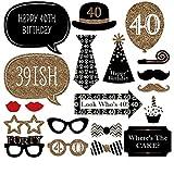 Party-Zubehör, für 30., 40.Geburtstag, lustig, Partydeko, 20er-Set, für Männer, Frauen, zum Selbermachen, schwarz und gold