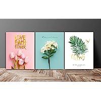 SAF Set of 3 Love Flower Design UV Coated 6MM MDF Home Decorative Gift Item Painting 12 inch X 27 inch SANFC12218…