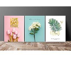 SAF Set of 3 Love Flower Design UV Coated 6MM MDF Home Decorative Gift Item Painting 12 inch X 27 inch SANFC12218, Floral, Mu