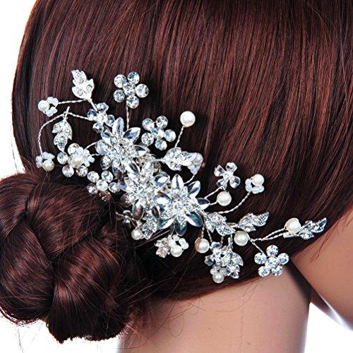 LEORX Épingle à cheveux perle strass fleur mariée cheveux peigne mariage (argent)