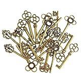 (Lot de 30) mixte vintage Vieux Squelette Look touches Fancy Cœur Nœud Collier Pendentifs bronze