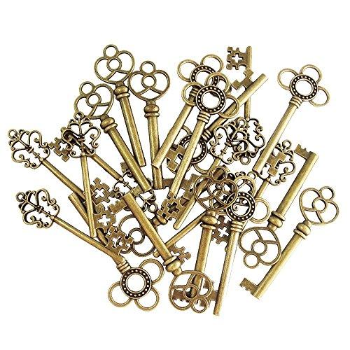 30 pezzi Antico Vintage Chiave Bronzo Skeleton Key Blocco Ciondolo Incanta i Risultati misti per la Produzione di Gioielli