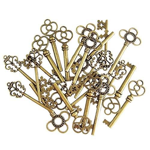 (30pezzi) misto vintage vecchio look Skeleton Keys Fancy Heart Bow collana pendente