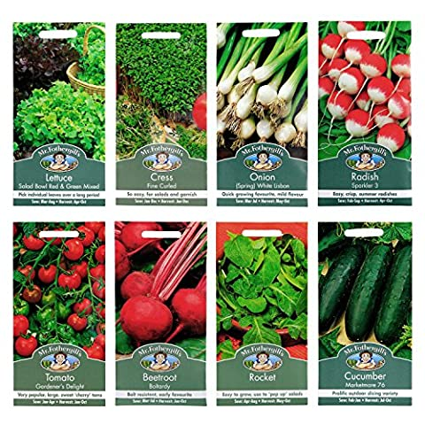 Mr Fothergill's Seeds - GYO Vegetable Salad Bowl Collection - 8pc Multipack