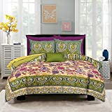 Pure Comfort 100% Cotton Supreme Quality Latest Floral Print Super King Size Double Bedsheet With 2 Zippered Pillow Covers - Floral, Green
