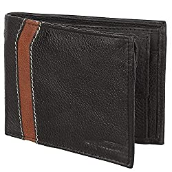 SPAIROW Mens 100% Genuine Leather Wallet (SK-0101) Black