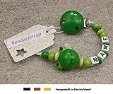 Baby SCHNULLERKETTE mit NAMEN | Schnullerhalter mit Wunschnamen - Mädchen & Jungen Motiv Frosch in grün