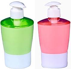 QuickShel Plastic BPA-free Liquid Soap Dispenser (Set of Positive Colors, Assorted Colour)