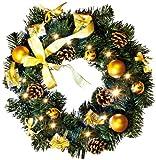 LED-Tannenkranz Weihnachtsdeko beleuchtet, Durchmesser ca. 40 cm, 20 warm weiß LED, batteriebetrieben, in gold