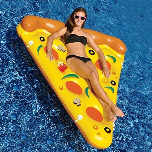 Mustbe strong gigante Pizza Pool Party flotador balsa, Floatie inflable Lounge / Pool Loungers juguete para adultos y niños de 150 * 180 cm(Materiales ambientales)