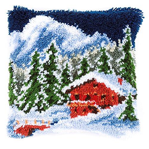 Vervaco Winterberglandschaft Knüpfkissen, Stramin, Weiß, 40 x 40 x 0,3 cm