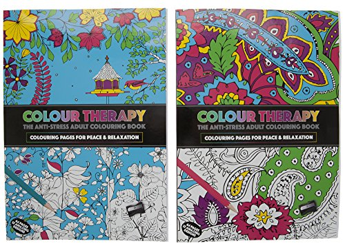 Colour Therapy Colouring Books and 10Pc Metallic Sharpened Pencil Pack Crayons
