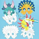 Masken zum Basteln und Ausmalen - Dinosaurier - für Kinder ideal zum Kindergeburtstag und Karneval - 6 Stück