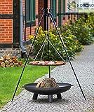 2 in 1 Korono Schwenk Grill 180cm Dreibein Rost 80cm Feuerschale 100cm mit Loch - Stilvolle Beleuchtung & mobiler Grill