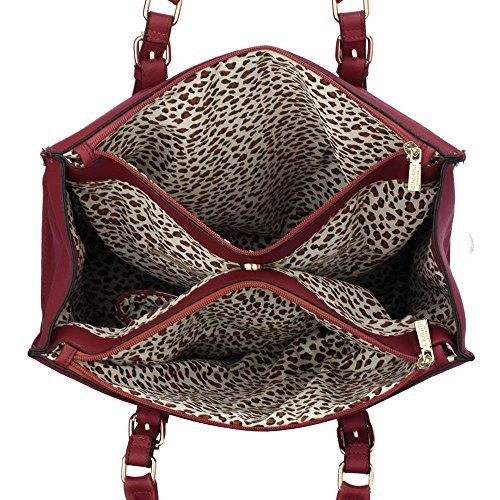 Trays for women (Braun) Haltegriffe Kunstleder Damenhandtaschen -Designer-Tasche Fronttasche Bourgogne