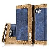 Samsung Galaxy S7 Edge Funda protectora 5,5 pulgadas, Negocio Estilo Prima PantalonesMezclilla Empalme Golpear Color PU Cuero Dar la vuelta Caso, Impermeable Difícil ordenador personal Espalda Cubierta de la cáscara Con Magnético Estar Billetera Tarjeta Ranuras y Foto Bolsillo Funda protectora Para Samsung Galaxy s7 edge-Azul