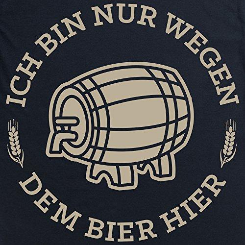 Ich Bin Nur Wegen Dem Bier Hier Langarmshirt, Herren Schwarz